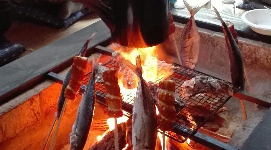 囲炉裏で焼牡蠣